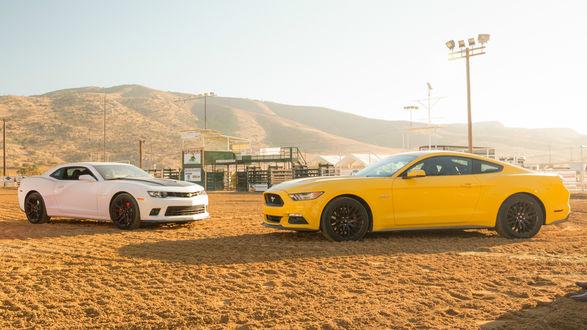 Обои Белый Chevrolet / Шевроле и желтый Mustang / Мустанг в пустыне