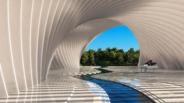 Обои Rendering / Рендеринг, Белый рояль на мраморной террасе с арками, где протекает река, вдали тропический лес на фоне синего неба