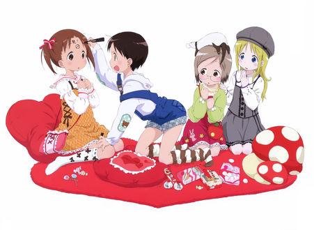 Обои Chika Itoh, Miu Matsuoka, Matsuri Sakuragi и Ana Coppola из аниме Клубничный зефир / Ichigo Mashimaro, art Kyuuta Sakai