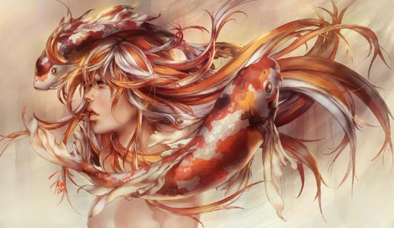 Обои Девушка с золотистыми волосами в окружении рыб, by jurikoi