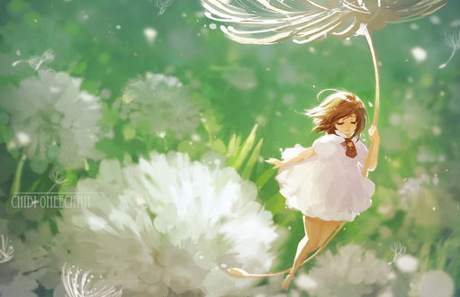 Обои Девушка летит, держась за семя цветка, by chibi-oneechan