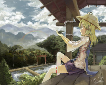 Обои Сувако Мория / Moriya Suwako сидит на веранде храма с лягушкой в руках из серии игры Touhou Project / Проект Восток, art by Agensou Kuro-usagi