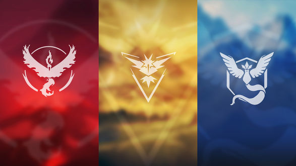 Обои Символы красной (Team Valor), желтой (Team Instinct) и синей (Team Mystic) команд из игры Pokemon GO