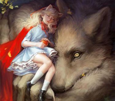 Обои Спящая красная шапочка с яблоком в руках на волке, by AMSBT