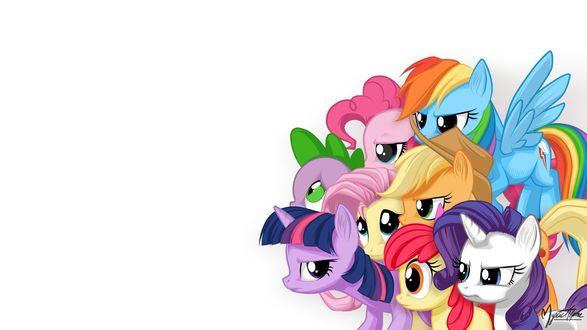 Обои My little pony / Мой маленький пони, персонажи известного мультипликационного сериала, пони на белом фоне