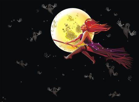 Обои Рыжеволосая ведьмочка летит на метле ночью на фоне луны, ее приветствуют приведения