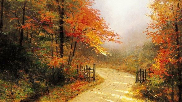 Обои Дорога, ведущая за околицу, вокруг осенний пейзаж