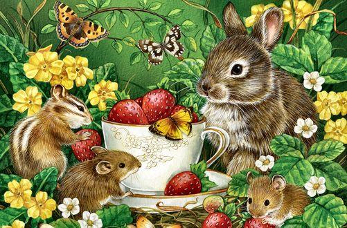 Обои Зайчонок, мышки и бурундучок дружно лакомятся клубникой из чашки в лесу, вокруг летают бабочки