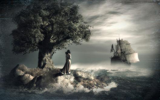 Обои Девушка стоит у дерева, встречая парусник, фотограф Серега Сергеев