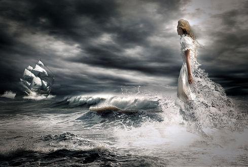 Обои Девушка в длинном платье стоит в воде в ожидании парусника, фотограф серега сергеев