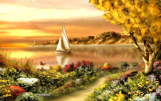 Обои Парусная лодка скользит по зеркальной глади морского залива вдоль берега, покрытого луговыми цветами и травами
