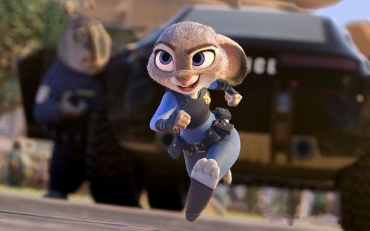Обои Zootopia, bunny cop Judy Hopps / Джуди Хопс Морковка, зайчиха полицейский из мультфильма Зверополис