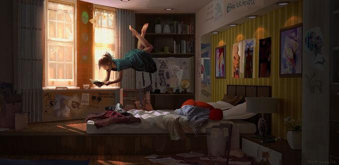 Обои Девушка с книгой парит в воздухе над кроватью, by Blake Rottinger