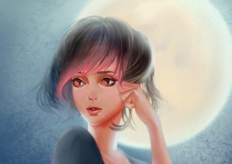 Обои Девушка на фоне полной луны, by DziKawa