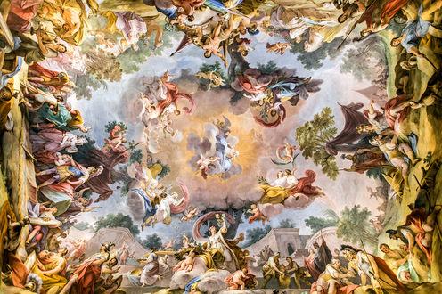 Обои Прекрасная фреска с ангелами в облаках, деревьями и людьми на земле