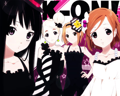 Обои Мио Акияма / Mio Akiyama, Цумуги Котобуки / Tsumugi Kotobuki, Рицу Тайнака / Ritsu Tainaka и Юи Хирасава / Yui Hirasawa из аниме Кэйон! / K-On! (K-ON!)