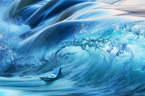 Обои Кораблик непрочный, кораблик бумажный. Сквозь волны морские несется отважно. К неведомым странам, в чужие места. Летит мой корабль под названием «Мечта», автор Adrian Borda