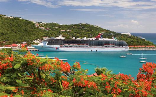 Обои Bahamas / Багамы, круизный лайнер на стоянке у берега острова, цветы крупным планом, лето