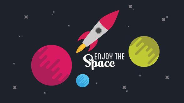 Обои Ракета летит в космос, мимо цветных круглых планет (Enjoy the Space)