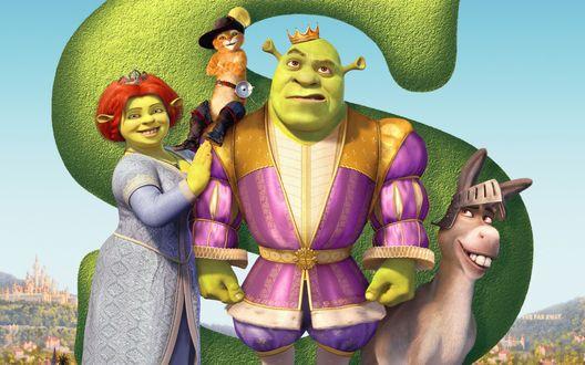 Обои Shrek- 3, movie characters / Шрек - 3, знаменитый мультфильм, персонажи Шрек, Принцесса Фиона, Осел, Кот в сапогах