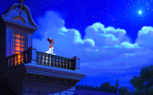 Обои The Princess and the Frog, Disney studio / Принцесса и лягушка, мультфильм производства Диснеевской студии, принцесса на балконе