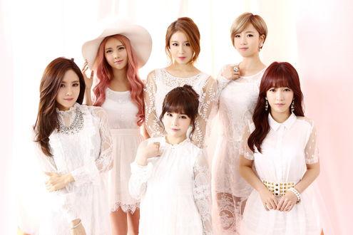 Обои Группа T-ara, k-pop, азиатки позируют в белых кружевных платьях, Южная Корея / Korea