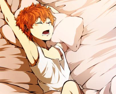 Обои Shouyou Hinata / Шое Хината спит на кровате из аниме Haikyuu! / Волейбол, art by Chiyo (Pixiv4921937)