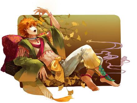 Обои Shouyou Hinata / Шое Хината в восточной косюие держит рукой бабочку из аниме Haikyuu! / Волейбол, art by Pixiv Id 3995637