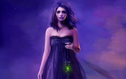 Обои Девушка с волшебным фонариком