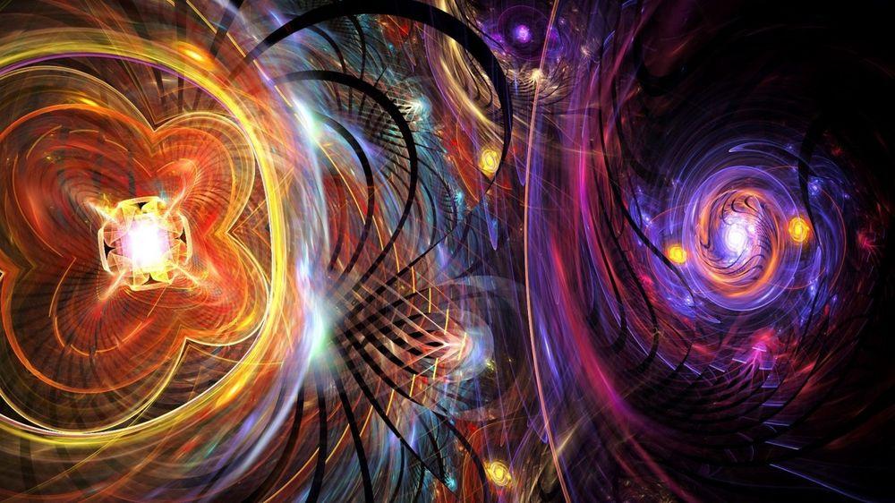 Обои для рабочего стола Абстракция - от кристаллов во все стороны расходятся разноцветные лучи
