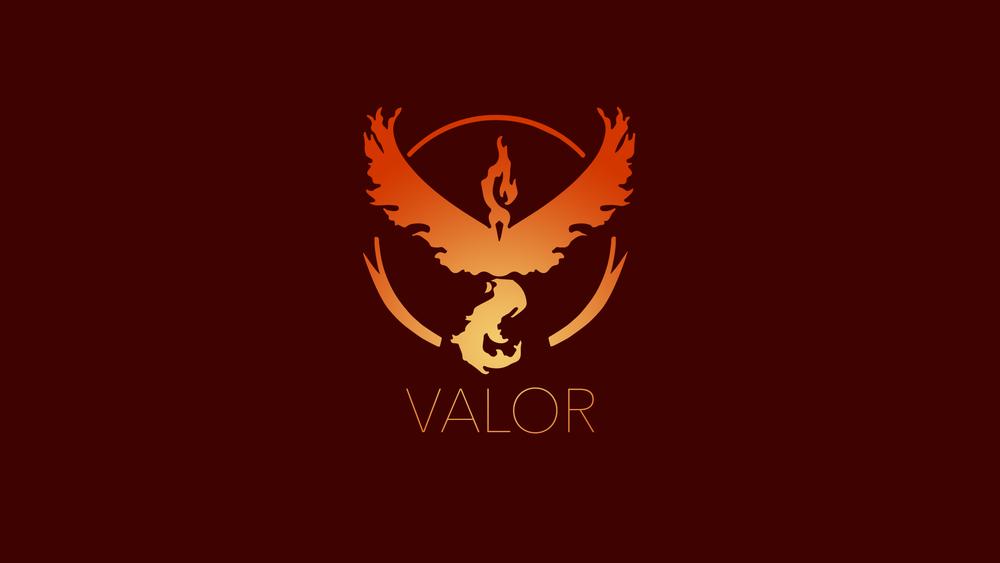 Обои для рабочего стола Символ красной команды из игры Pokemon GO (VALOR)