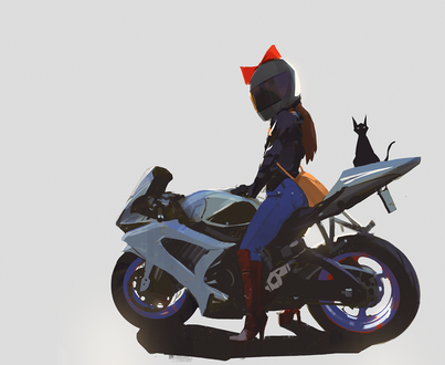 Обои Kiki / Кики и Jiji / Джиджи из аниме Kikis Delivery Service / Служба доставки Кики / Ведьмина служба доставки, by snatti