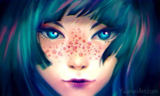 Обои Синеглазая девушка с веснушками-цветами на лице, by yuumei
