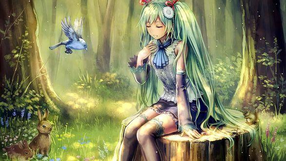 Картинки леса осенью в стиле аниме