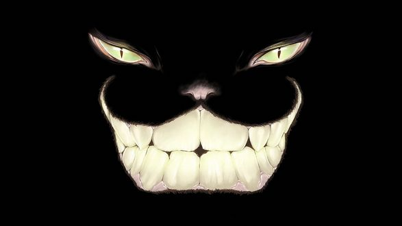Обои Злобная улыбка Чеширского Кота со светящимися зубами и глазами, на черном фоне, Алиса в стране чудес, автор Omri Koresh