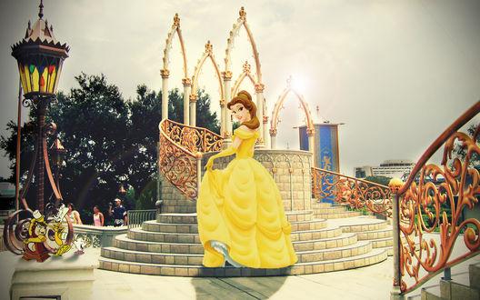 Обои Beauty and the Beast, Disney movie / Красавица и чудовище, мультфильм Диснеевской студии, Belle / Белль, персонаж, на фоне вида Диснейленда