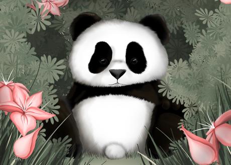 Обои Панда на природе среди кустов и розовых цветов, by Hazey1988