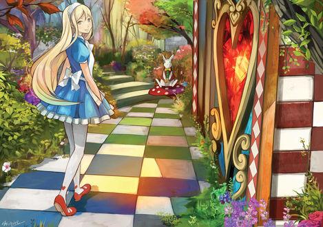 Обои Алиса / Alice и белый кролик из сказки Alice in Wonderland / Алиса в стране Чудес