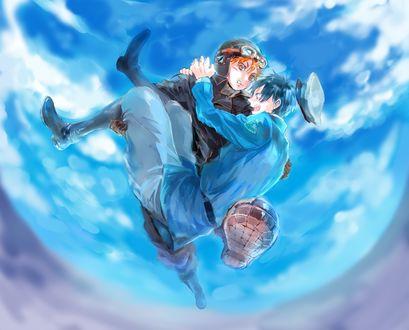 Обои Shouyou Hinata / Шое Хината несет на руках Kageyama Tobio / Кагеяма Тобио, из аниме Haikyuu! / Волейбол, art by Pixiv Id 504436