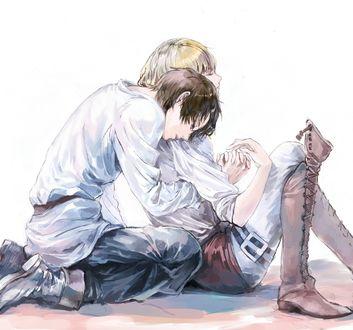 Обои Armin Arlert / Армин Арлерт и Eren Yeager / Эрен Егер из аниме Shingeki no Kyojin / Вторжение гигантов, art by Pixiv Id 504436