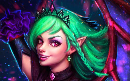 Обои Красивая девушка-вампир с зелеными волосами