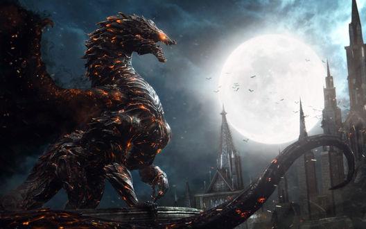 Обои Крылатый дракон на фоне замка в полнолуние из игры Castlevania: Lords of Shadow