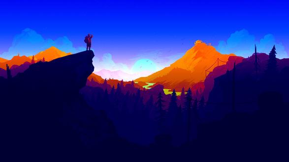 Обои Главный герой игры Наблюдательная вышка / Firewatch любуется пейзажем, стоя на вершине отвесной скалы, by AaronOlive