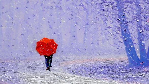 Обои Велосипедист едет под красным зонтом, дождь, падающие листья