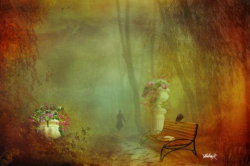 Обои Одинокий ворон и раскрытая книга, оставленная на скамье в осеннем парке мужчиной, силуэт которого растворяется вдали, byHedimir