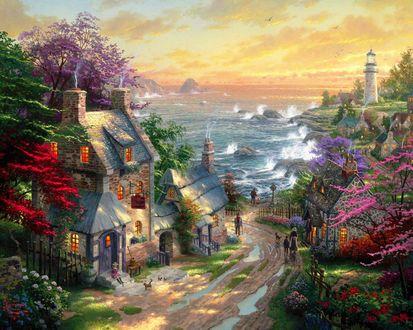 Обои Улица небольшого городка ведущая к морю, вдали виднеется башня маяка, на фоне моря и неба, by Thomas Kinkade / Томас Кинкейд