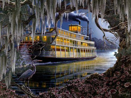 Обои Ночь, старинный пароход, сияя огнями идет по реке, на переднем плане деревья и потревоженная белая цапля, by Roberta Wesley / Роберта Уэсли, Night on the River / Ночь на реке