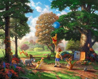 Обои Картина посвященная пятидесятилетию выхода в свет книги о Винни Пухе / Winnie the Pooh, в центре Кристофер Робин держит в руке Винни Пуха с воздушным шариком, вокруг персонажи книги, by Thomas Kinkade / Томас Кинкейд