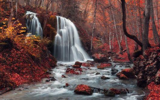 Обои Небольшой водопад среди осеннего леса и камней, усыпанных опавшими листьями Водопад Серебряные струи, фотограф Денис Белицкий