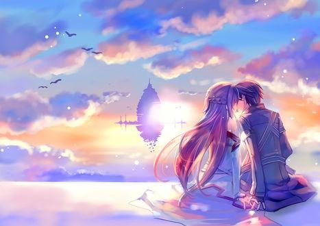 Обои Асуна Юуки / Yuuki Asuna и Кирито / Kirito / Казуто Киригая / Kirigaya Kazuto из аниме Sword Art Online / Мастера Меча встречают рассвет, целуясь на фоне Айнкрада